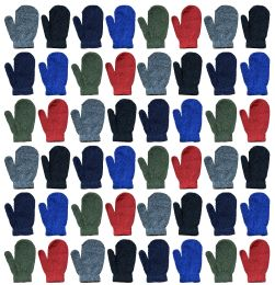 72 Bulk Yacht & Smith Kids Warm Winter Colorful Magic Stretch Mittens Age 2-8