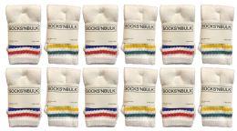 120 Bulk Yacht & Smith Kids Cotton Tube Socks White With Stripes Size 4-6 Bulk Pack
