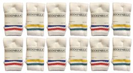 240 Bulk Yacht & Smith Kids Cotton Tube Socks White With Stripes Size 4-6 Bulk Pack