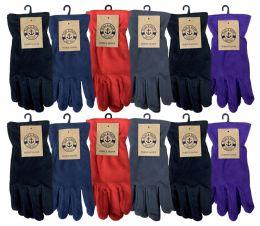 48 Bulk Yacht & Smith Womens Winter Fleece Gloves With Snug Fit Cuff