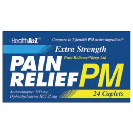 24 Bulk Pain Relief Pm Caplets 24 Count Acetaminophen 500 Mg/ Diphenhydramine Hci 25 Mg Compare To Tylenol pm