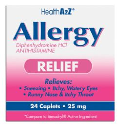 24 Bulk Allergy Relief 24 Coated Caplets Diphenhydramine 25 Mg Compare To Benadryl