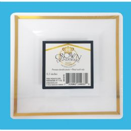12 Bulk Crown Dinnerware 7 Inch Dessert Plate 10 Pack Square Executive Collection Gold