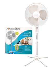 Bulk Comfort Zone Pedistal Fan 16 Inch 3 Speed Oscillating Adjustable Height 41-47 Inch Etl Approved