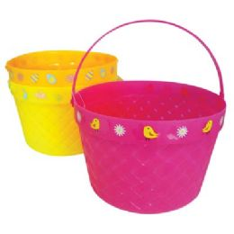 48 Bulk Easter Basket 8 X 5.5 In Assorted Colors And Designs