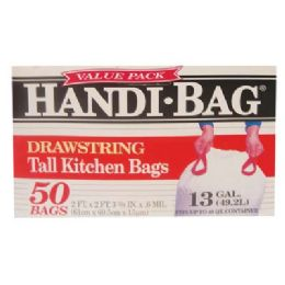 6 Bulk Handi Bag Drawstring Tall Kitchen Bag 50 Count 13 Gallon