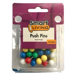 36 Bulk Push Pins Round Head 50ct Assorted Colors