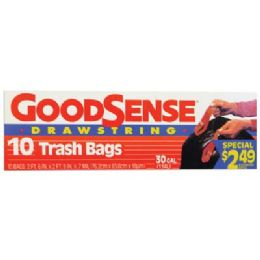 9 Bulk Good Sense Trash Bags 10 Count 30 Gallon Drawstring Prepriced $2.49