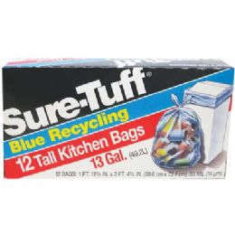 24 Bulk SurE-Tuff Tall Kitchen Bags 12 Count 13 Gallon Blue Recycling