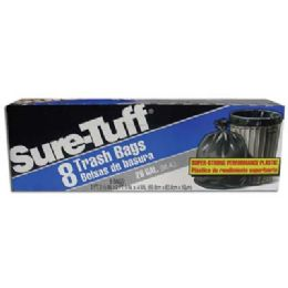 24 Bulk Sure Tuff Trash Bag 8 Count 26 Gallon