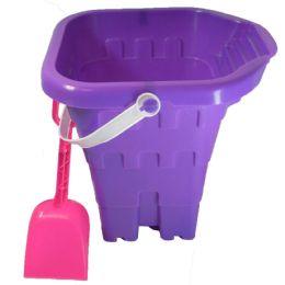 48 Bulk Sand Castle Bucket 8 Inch With Shovel And Spout Astd Colors
