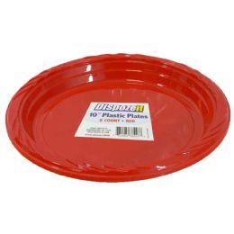 24 Bulk Plastic Plate 8 Ct 10 Red