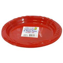 24 Bulk Plastic Plate 10 Ct 9 Red