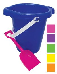 48 Bulk Beach Pail 7 In With Shovel And Spout Assorted Colors