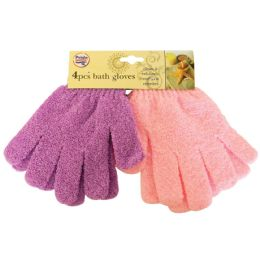 48 Bulk 4 Pc Exfoliating Bath Gloves In Assorted Colors