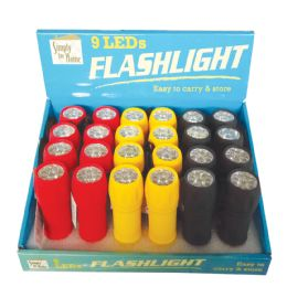 48 Bulk Rubber Flashlight 4 Iinches 9 Led Assorted Colors In Display
