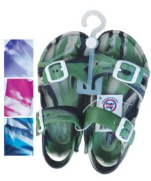 24 Bulk Unisex Sandals Adjustable Straps Toddler Assorted Sizes 5-10 And Colors