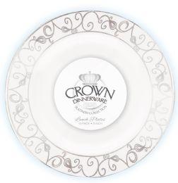 12 Bulk Crown Dinnerware Dinner Plate 9 Inch 10 Pack Platinum Collection