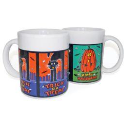 12 Bulk Halloween Mugs Ceramic 10.5 Oz Assorted Designs