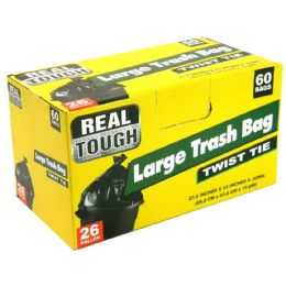12 Bulk Real Tough Trash Bag 26 Gl 60