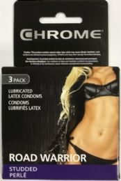 Bulk Chrome Comdom 3 Ct Assorted (road Warrior Studded) 10 Bundle Of 12