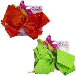 24 Bulk Hair Clip Jumbo Butterfly Bow W/crystal Gems Neon Orange/lime