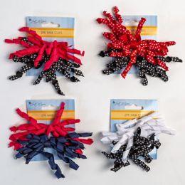 30 Bulk Hair Clip 2pk Curly Bow Asst Grosgrain Solid/polka Dot 5x3in