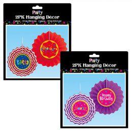 36 Bulk Tissue Fan 2pk Party Hanging Decor 12&10in/pk 2ast Design