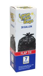 12 Bulk Large Trash Bags 30 Gal 7 Ct Flat Tie Made In Usa