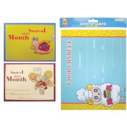 72 Bulk Student Of The Month Certificate 15 Sheet 8.5 X 11 Inch Assorted Designs