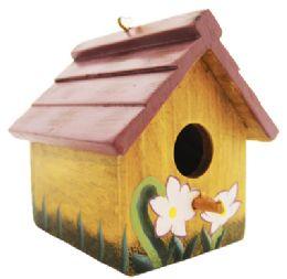 24 Bulk Hanging Bird House 3.5 Inch Tall Wood