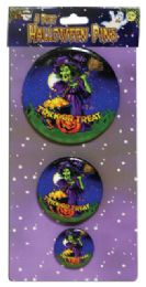 72 Bulk Halloween Button Pins 3.5 2.5 And 1.5 Inch Prepriced At $2.99