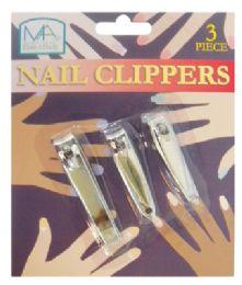 48 Bulk Nail Clipper Set 3 Piece Assorted Sizes