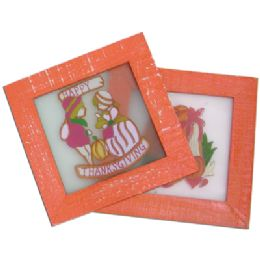 48 Bulk Thanksgiving Stained Glass Plaque 6.5x6.5 Inch Prepriced At $2.99