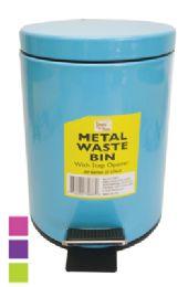 8 Bulk Metal SteP-On Waste Basket 0.8 G With Step Opener Assorted Colors