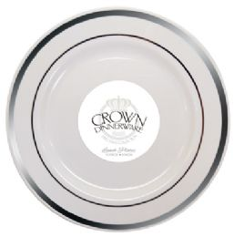 12 Bulk Crown Dinnerware Lunch Plate 9 Inch 10 Pack Executive Collection White/silver