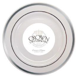 12 Bulk Crown Dinnerware Dessert Plate 7 Inch 10 Pk Executive Collection White/silver