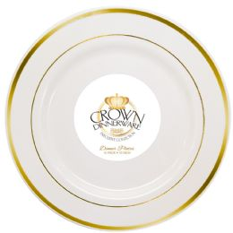 12 Bulk Crown Dinnerware Dinner Plate 10 Inch 10 Pack Executive Collection White/gold