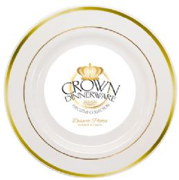 12 Bulk Crown Dinnerware Dessert Plate 10 Pk 7 Inch Executive Collection White/gold