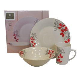 Wholesale GIBSON DINNERWARE SET 12 PIECE PORCELAIN SCARLET LEAVES INCLUDES 4-DINNER PLATES/BOWLS/MUGS  sc 1 st  Blue Star Empire & Wholesale GIBSON DINNERWARE SET 12 PIECE PORCELAIN SCARLET LEAVES ...