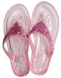 12 Bulk Ladies Embellished Jelly Flip Flops Assorted Sizes 5-11