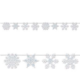 12 Bulk Snowflake Streamer glitter print; assembly required