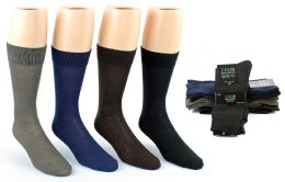 24 Bulk Men's Classic Crew Dress Socks - Assorted Colors - Size 10-13