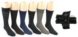 24 Bulk Men's Classic Crew Dress Socks - Assorted Patterns - Size 10-13