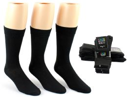 24 Bulk Men's Black Classic Crew Dress Socks - Size 10-13