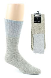 24 Bulk Men's Thermal Tube Boot Socks - Grey W/light Grey Tops - Size 10-13
