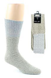 24 Bulk Men's Thermal Tube Boot Socks - Grey W/light Grey Tops - Size 10-13