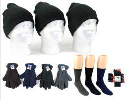 180 Bulk Adult Cuffed Knit Hats, Men's Fleece Gloves, & Men's Wool Blend Socks Combo