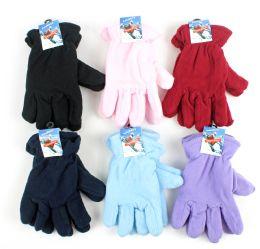 60 Bulk Women's Fleece Lined Gloves - Assorted Colors