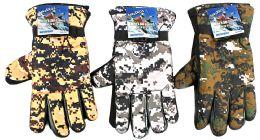 36 Bulk Men's Camouflage Ski Gloves W/ Grips